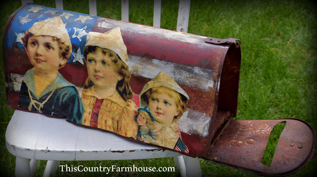One of a kind Multi media patriotic 4th of July American flag farm mailbox