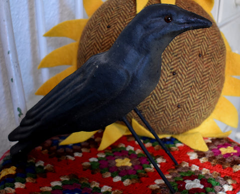Sneaky antique paper mache crow for harvest fall displays!