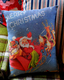 Vintage antique Merry Christmas Santa claus sleigh stars night decoration pillow