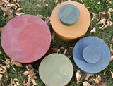 Stack of vintage round wooden pantry boxes crusty dry milk paint colors farmhouse perfect!