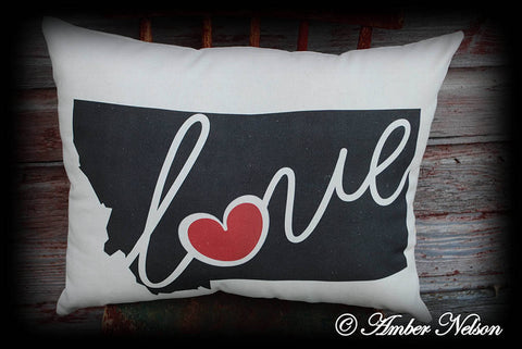 Huge Montana Big sky State Love pillow heavy duty canvas heart keepsake