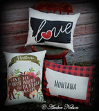 Huge Montana plaid gingham western cabin Big sky State Love pillow heavy duty canvas keepsake