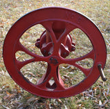 HUGE NO # 3 red OLD Corn sheller coffee grinder Farmhouse antique BEAUTIFUL
