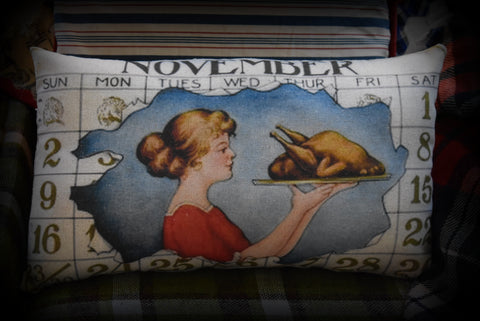 vintage Thanksgiving  November calendar page Turkey Dinner antique inspired throw pillow