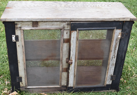 Beautiful old primitive pie safe cupboard antique cabinet