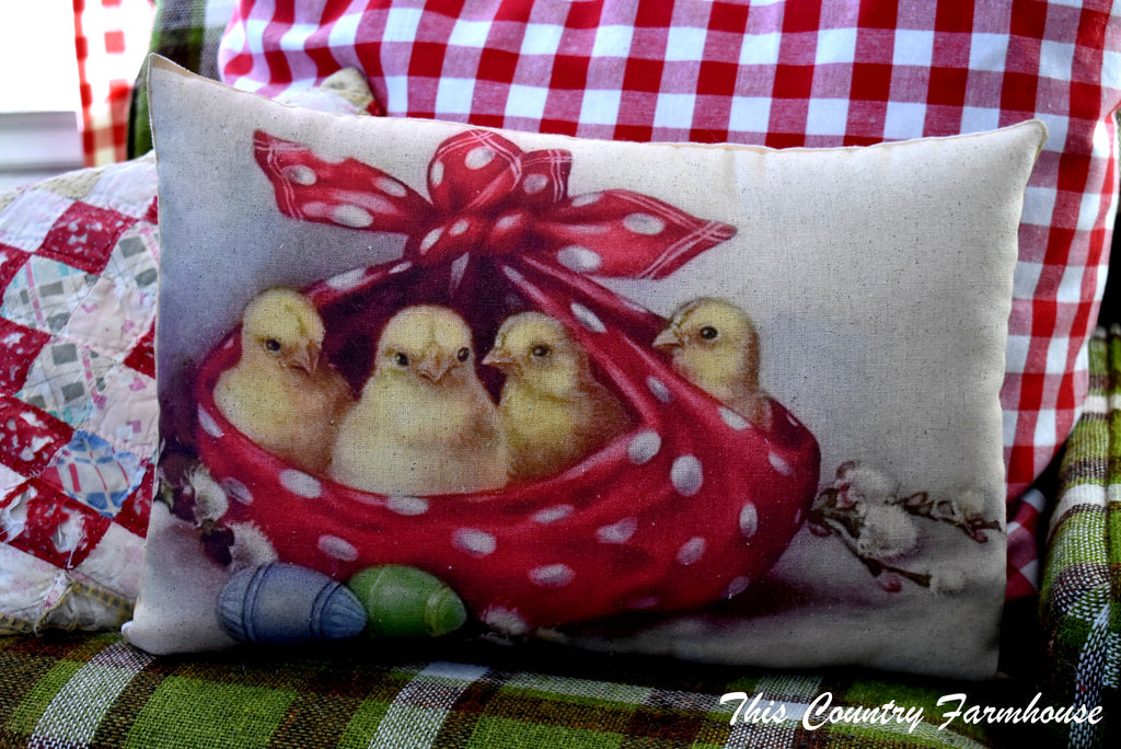 THE BEST MOST DARLING chicks in polka dotted kerchief Easter egg pillow