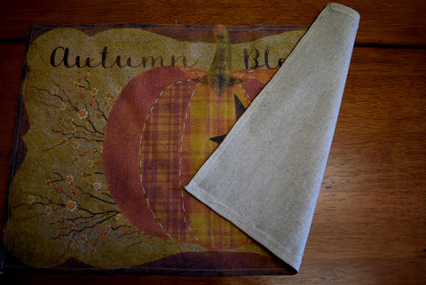 Autumn Blessings place table mat pumpkin star rustic primitive bittersweet