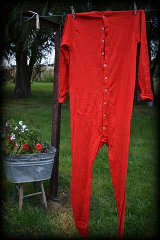 Red adult Long Johns pjs Christmas laundry button down early style vintage