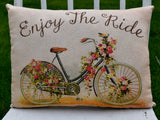 Enjoy the ride Bicycle floral flowers pillow spring summer