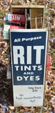 AWESOME vintage Rit laundry dye display turn style with old product! 40's 50's?