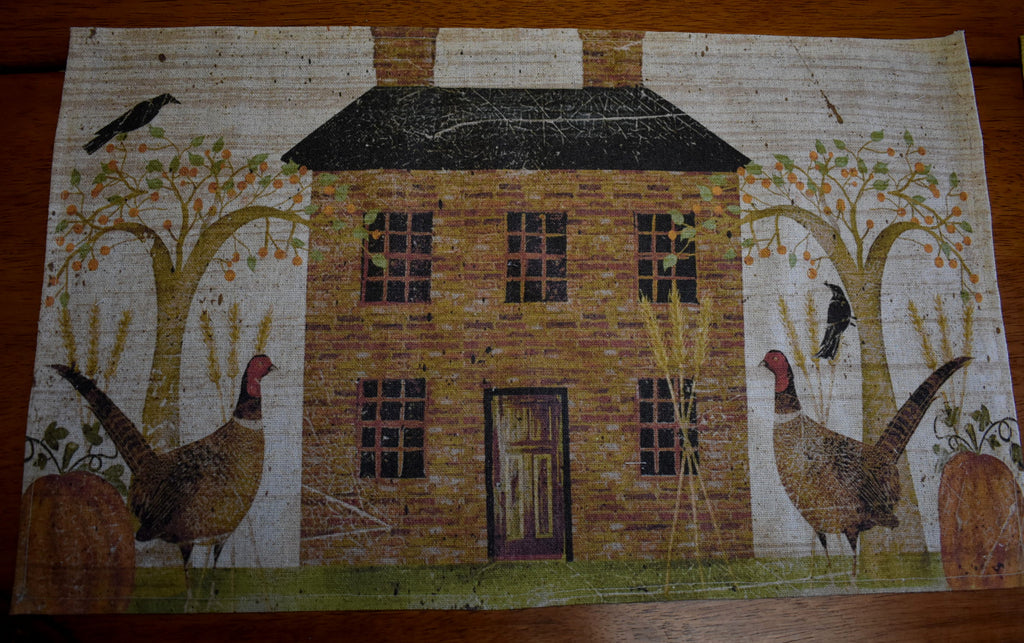 Stone saltbox house country primitive pheasant fall harvest willow trees place table mat