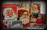 Vintage antique Christmas Santa Claus snow glitter sign picture peg rack hanger