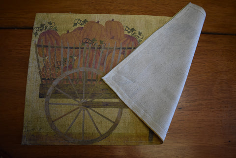 Sheep pumpkin cart fall harvest willow trees place table mat