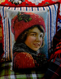 Victorian Ice skate boy child antique portrait Christmas winter pillow old world