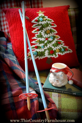 The best vintage childs winter Christmas ski poles! Peg rack or wreath PERFECT