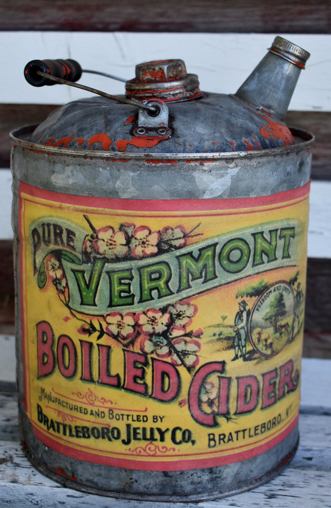Red Metal Cider Can Jug Harvest Fall Decor