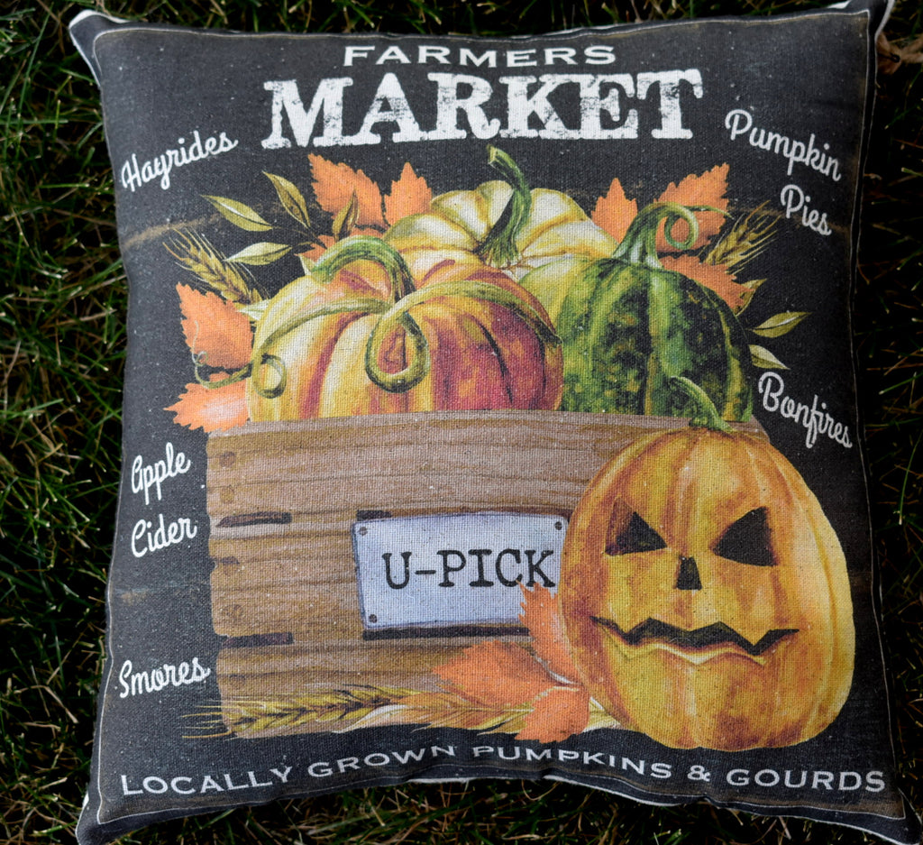 Fall harvest autumn garden vegetable farmhouse pillow farmers market u-pick