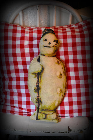 Small old world vintage snowman cupboard tuck pillow