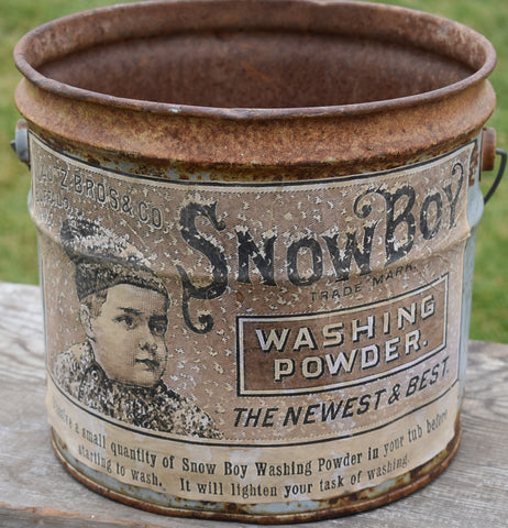 Awesome old Snowboy washing powder bucket laundry decor
