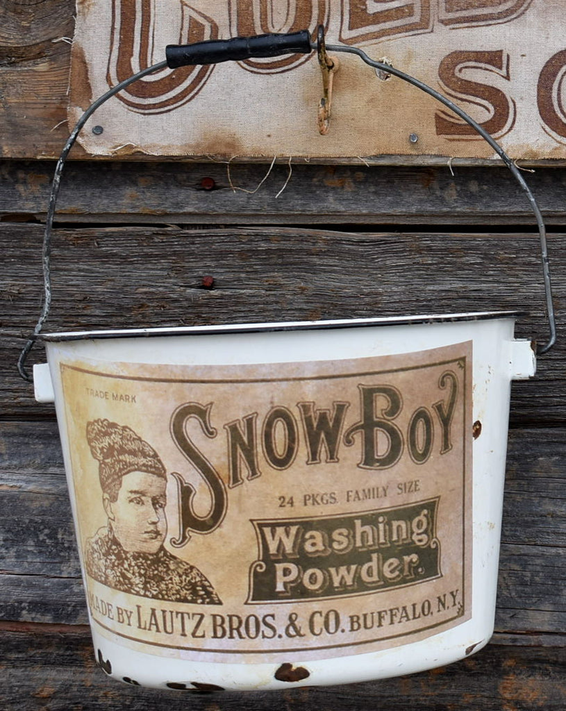 Awesome Snow Boy laundry soap enamelware bucket for your wash displays Snowboy
