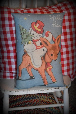 Darling vintage snowman riding reindeer Christmas throw pillow
