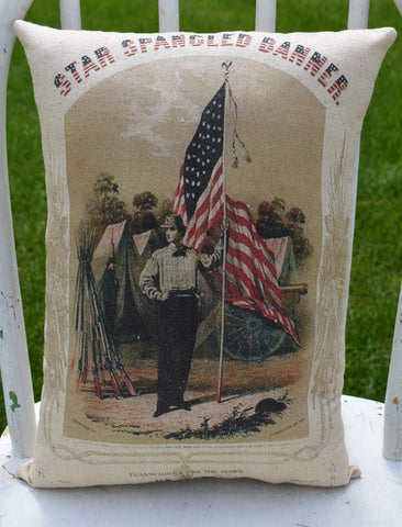 Star Spangled Banner patriotic American flag pillow 4th of July