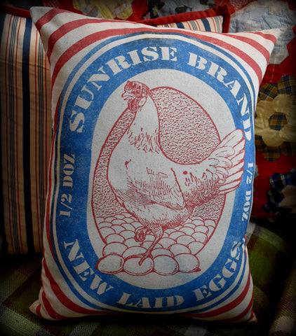 XXL Sunrise Brand Hen and Chicken egg feed bag sack pillow  BEAUTIFUL! farmhouse decor