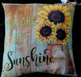 You are my sunshine sunflower milk can barn wood pillow