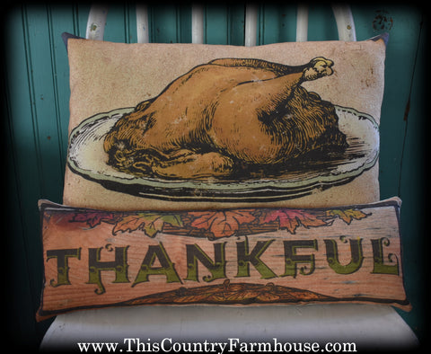 Thanksgiving Christmas dinner turkey platter thankful pillow combo set