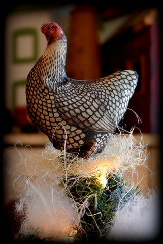 Farmhouse Christmas feather table tree topper tiny chicken hen farm ornament