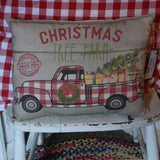 Christmas tree farm throw pillow red white buffalo truck