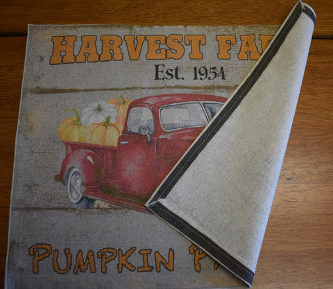 harvest farms vintage antique truck pumpkin patch table place mat