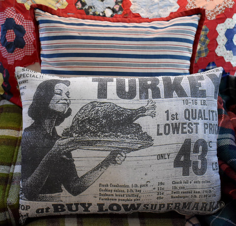 vintage Thanksgiving retro 50's 60's turkey dinner newspaper ad decorative throw pillow