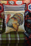 Happy Thanksgiving turkey brand ad label dinner party decoration throw pillow