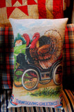 Thanksgiving Happy Turkeys In Antique Car Pillow