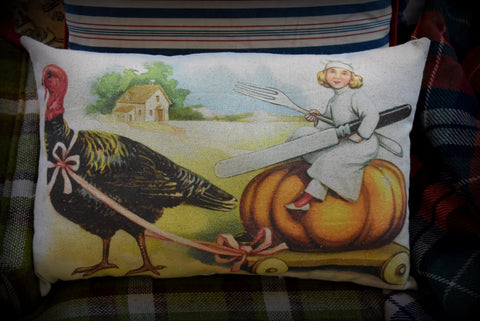 Happy Thanksgiving antique turkey chef pumpkin cutlery dinner throw pillow