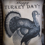 Thanksgiving Happy Turkey Day Porch Pillow