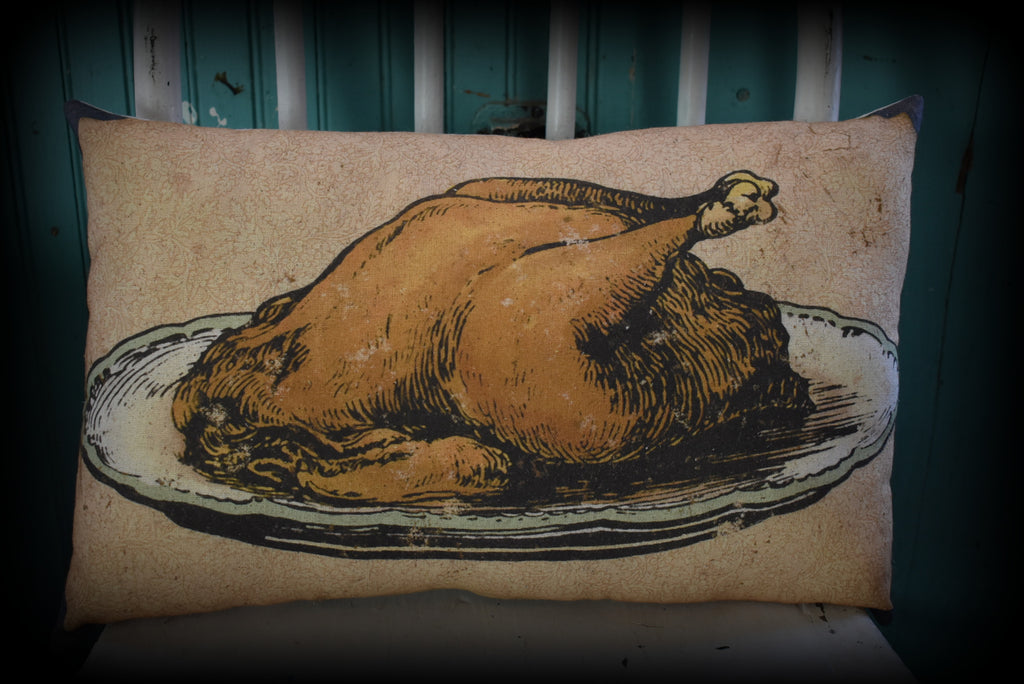 Turkey dinner platter pillow Thanksgiving Christmas chicken