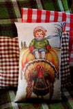 Girl Riding Pumpkin Turkey Cart Pillow