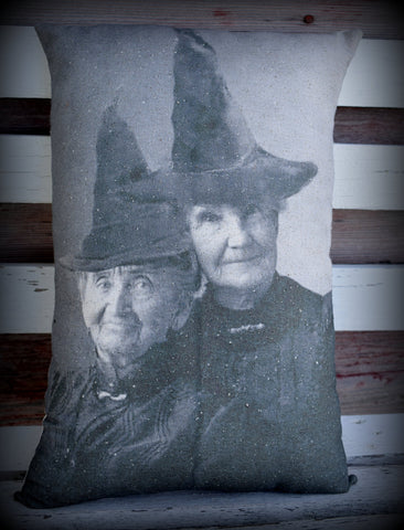 Two Best friends witches portraits old early antique photo Halloween party decor throw pillow