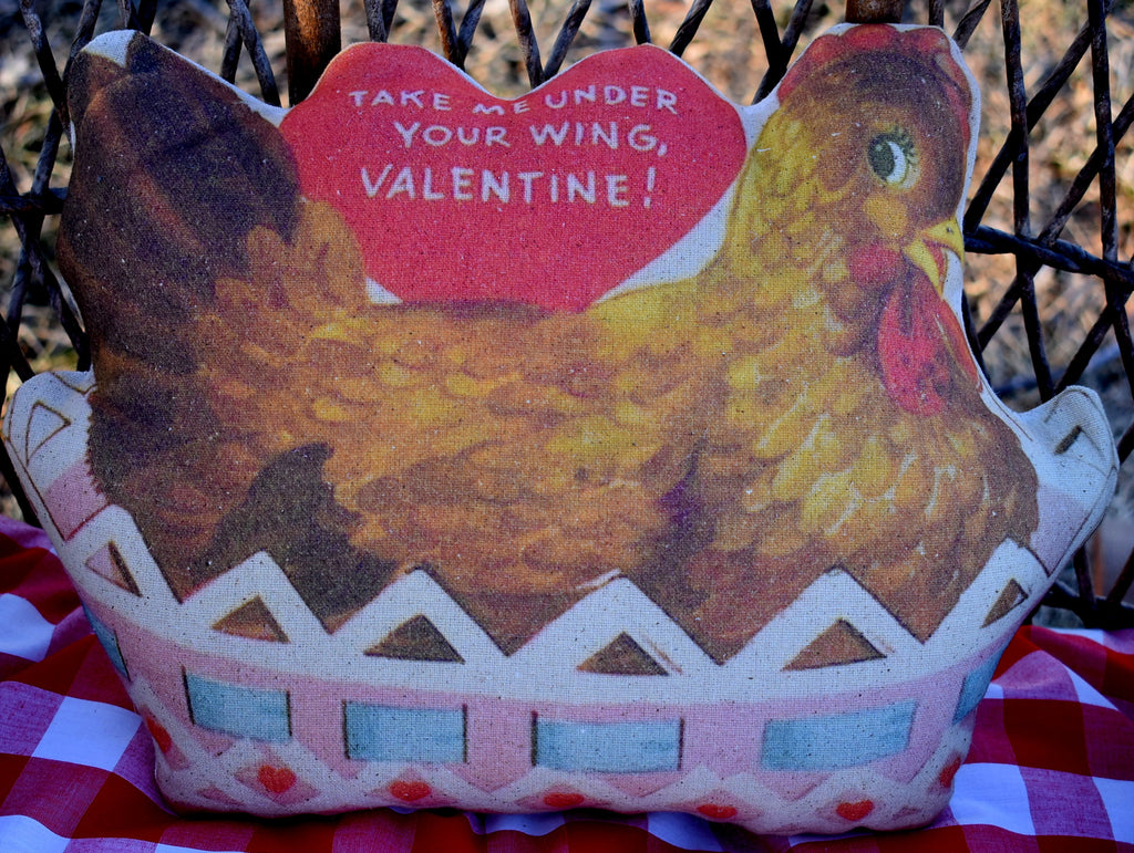 Take me under your wing chicken hen valentine pillow