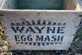 Impossible to find primitive antique Wayne Egg Mash box holder wooden with handle