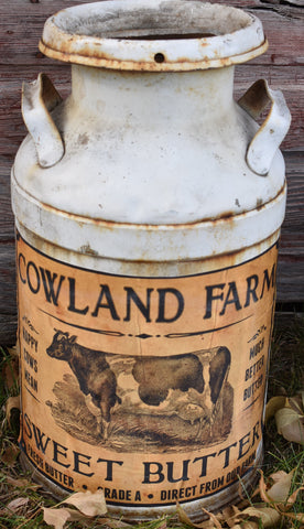AWESOME farmhouse white rusty milk can farmland cows sweet butter label kitchen decor