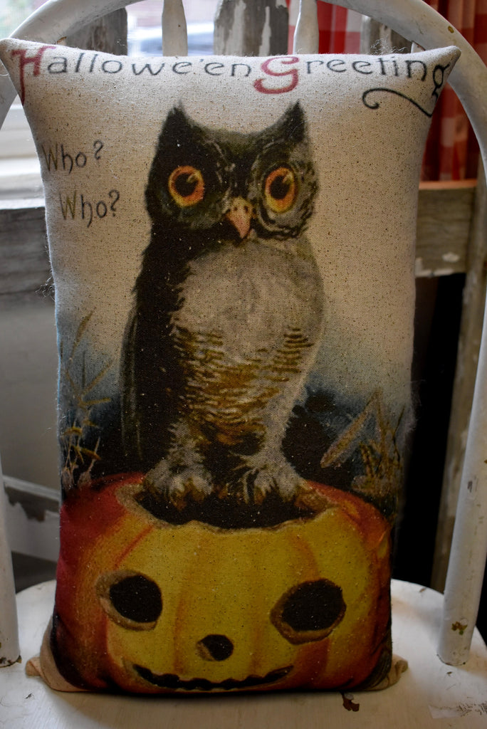 Old world owl pumpkin jack o lantern pillow WHO WHO postcard vintage Halloween