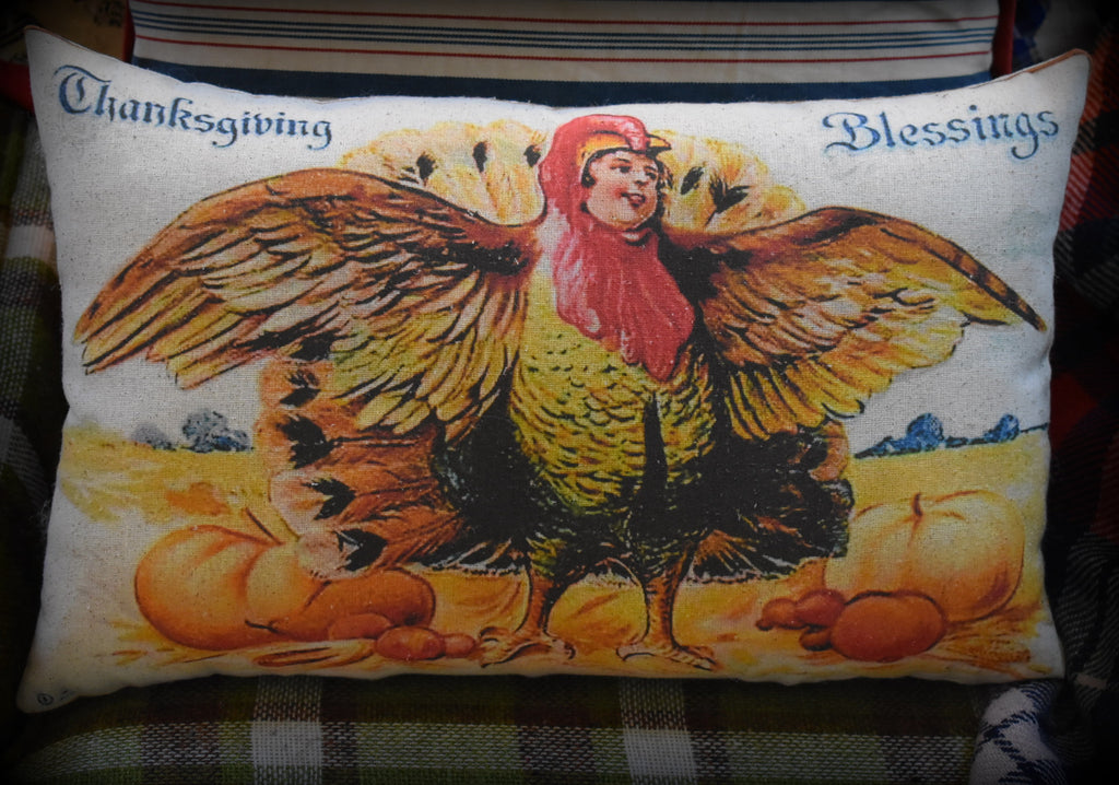 Happy holiday Thanksgiving antique turkey dinner boy costume vintage decorative throw pillow