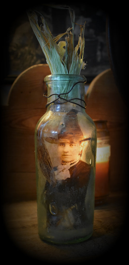 Helga and broom Witch in a bottle antique primitive Halloween curiosity jar
