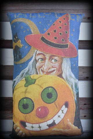 Vintage witch and pumpkin Jack O Lantern Black cat on moon retro decorative pillow