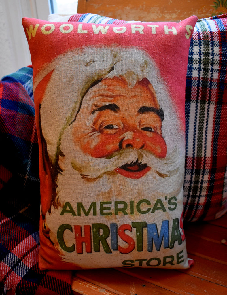 Vintage Christmas Santa Claus Woolworths store sign throw pillow