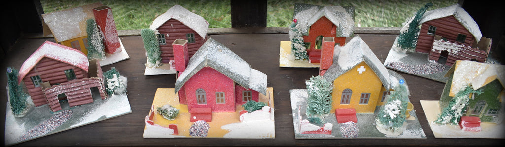 Old set of antique putz Christmas houses village