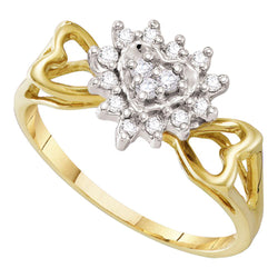 10kt Yellow Gold Womens Round Diamond Heart Love Cluster Ring 1/5 Cttw